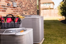 Work Tools Kept on Outdoor Air Conditioning Units